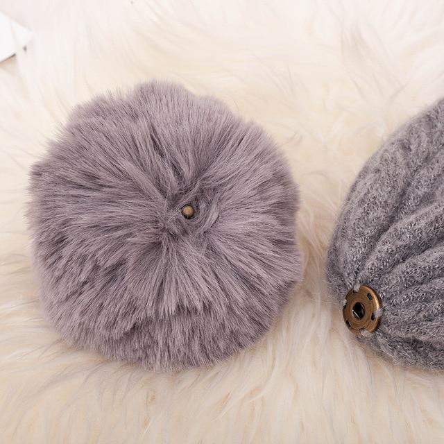 Fashion Warm Knitted Women's Hat Striped Winter Hats For Women Pink Fur Pompom Wool Beanies Thick Skullies Cap faux Pom pom Hat 5