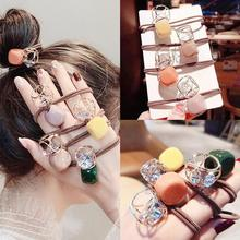Candy color square hollow rhinestone rope rubber band cute wild bright hair rope hair ring hair accessories coffee square hair ring
