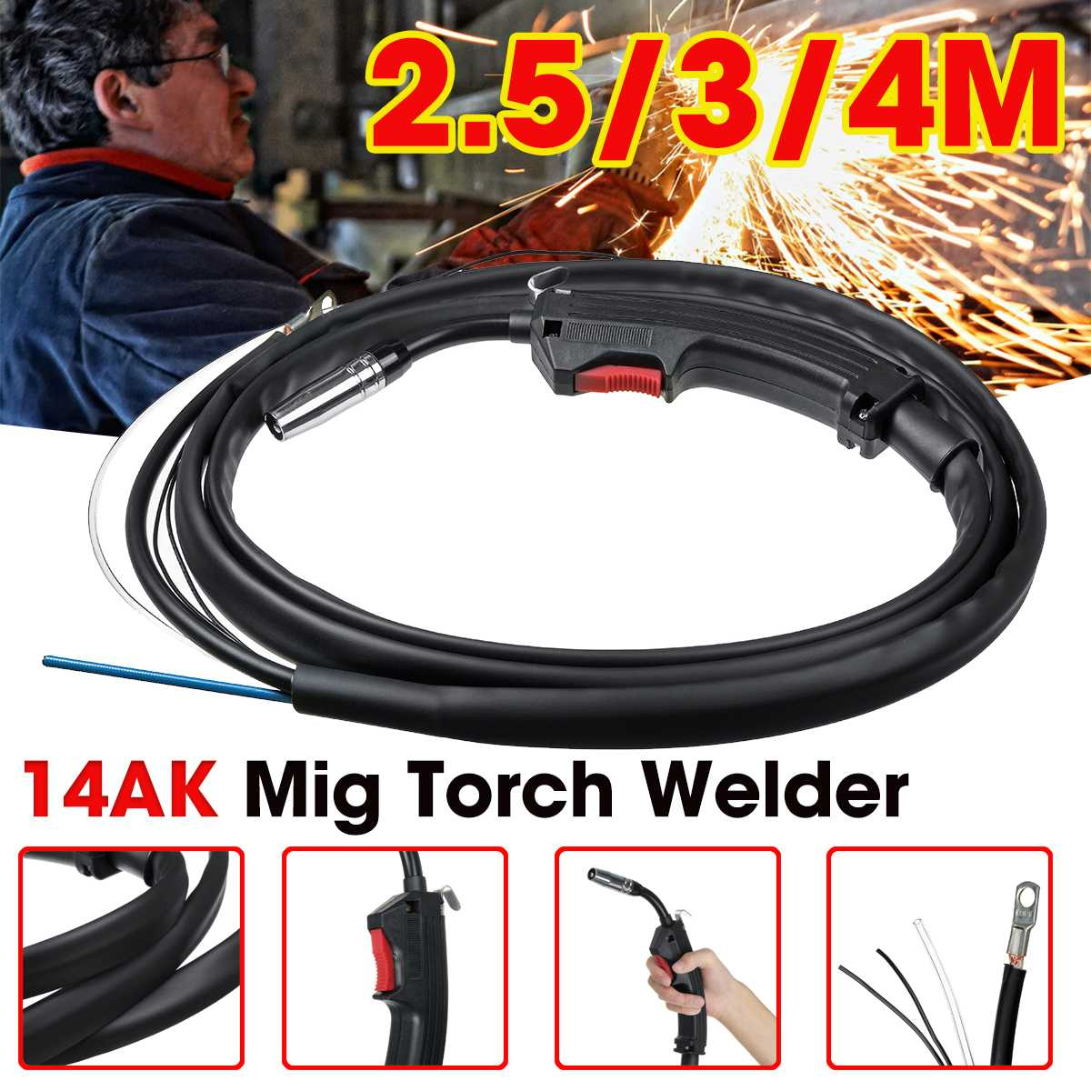 14AK Gas Electric Welding Guns Torch Electric Welder Complete Replacement Spare Part for MIG MAG Welding Machine