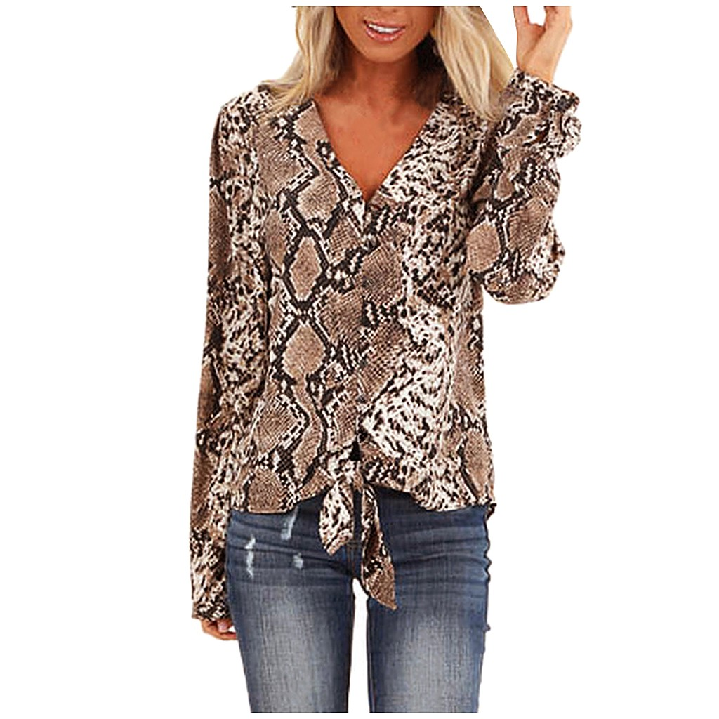 Fashion Women Long Sleeve Snake Blusas V Neck Shirt Ladies OL Party Top Dames Streetwear Blusas Femininas Elegante Plus Size