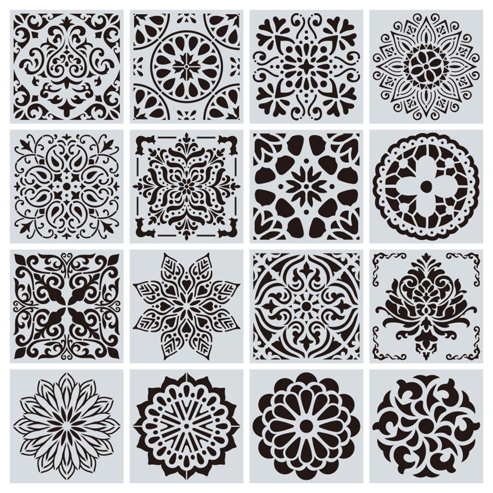 16Pcs Painting Stencil Painting Templates Stencils Perfect For DIY Painting Art Projects Wood Glass Fabric Metal Walls
