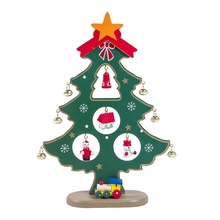 Wooden Christmas Tree Desktop Decoration With Bells Ornament Trees Children Gift Home Party Decor