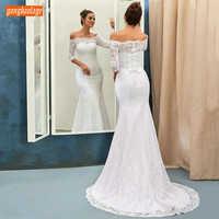 Moda Laço Branco Vestidos de Casamento Fora Do Ombro Mangas 3/4 Da Sereia Vestidos de Casamento Zipper Botão Lace Up Trem Da Varredura Nupcial vestido