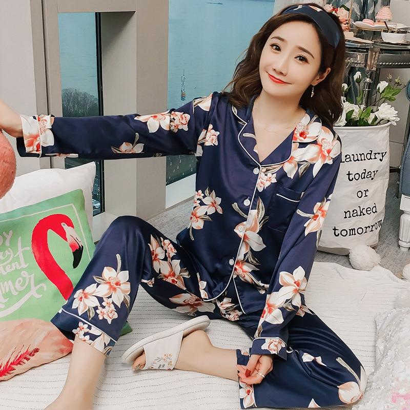Women Satin Silk Pajamas Sets Adult Spring Autumn Flower Print Sleepwear Long Sleeve Shirt And Pant V-Neck Nighties