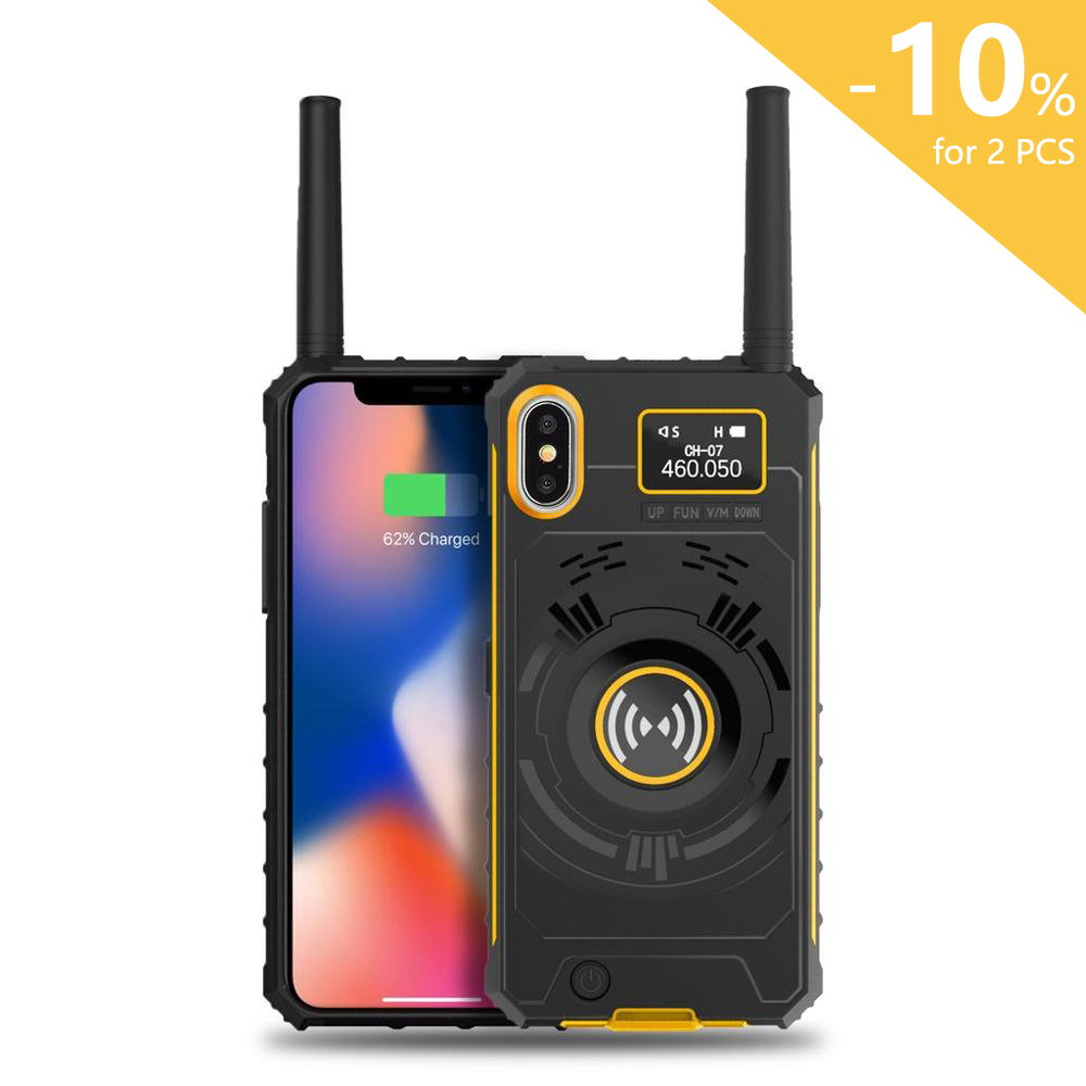 iRaddy GM-series 3-in-1 UHF Phone Case Two-way Radio Rechargeable Extended Battery Anti-drop Cell for iPhone