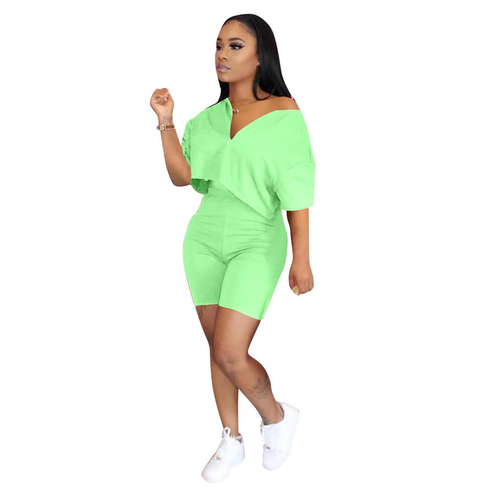 Pure Color Two Piece Set Women Tracksuit Summer Clothes Short  Sleeve Crop Top Biker Shorts Lounge Set Dresy Damskie 2020