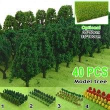 40 pçs diy artesanal miniatura de plástico, árvores modelo para construção, jardim, ferroviário, layout, paisagem, acessórios, brinquedos para crianças