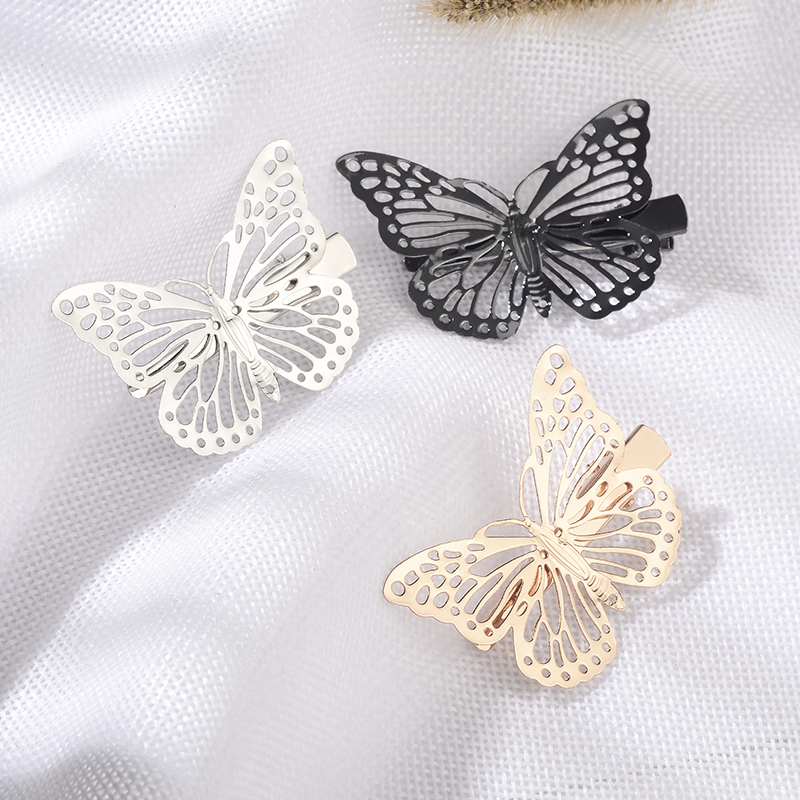 New 1 Piece Butterfly Hair Clips Girls Fashion Retro Women Hairpins Vintage Gold Silver Haarspeldjes Voor Meisjes Styling Tools