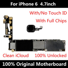 For iPhone 6 4.7inch 16GB Motherboard Factory Unlocked Mainboard With Touch ID Original IOS Installed Free Shipping