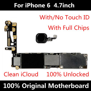 Image 1 - For iPhone 6 4.7inch 16GB Motherboard Factory Unlocked Mainboard With Touch ID Original IOS Installed Free Shipping