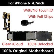 Para iphone 6 4.7 polegada 16gb placa mãe fábrica desbloqueado mainboard com touch id original ios instalado frete grátis