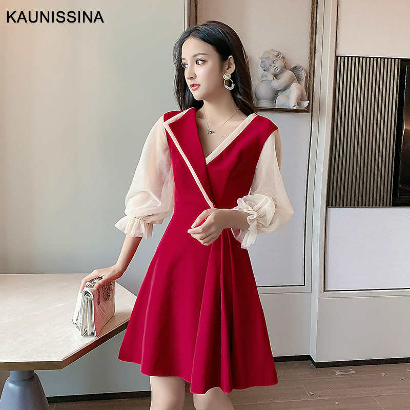 KAUNISSINA Short Women Cocktail Robe Party Gowns 3/4 Sleeve V-Neck A-Line Mini Korea Homecoming Dresses Black Red Color