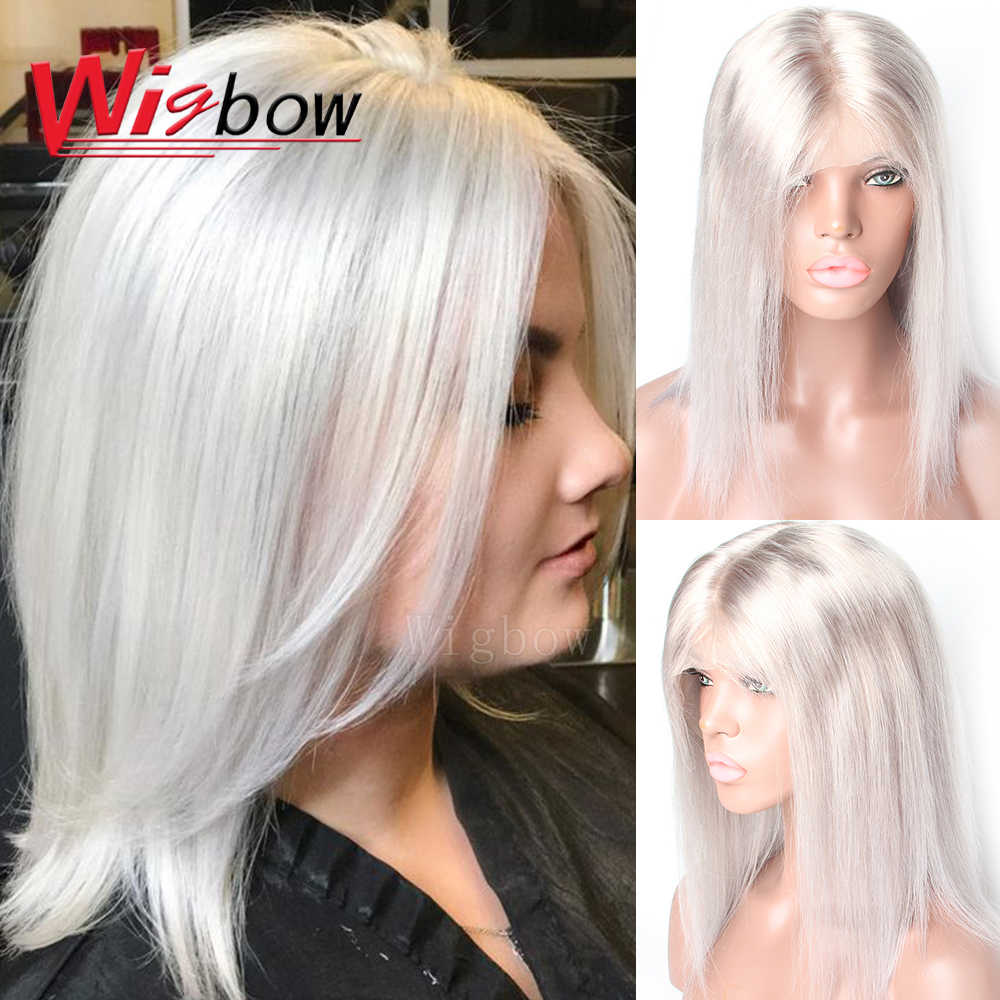 Brazilian Straight Lace Front Wigs Human Hair Blue Green Red Purple Yellow Grey Orange Natural Black Short Bob Wigs For Women