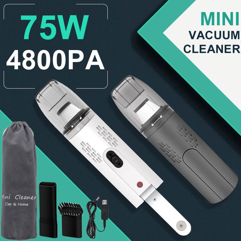 75W 4800Pa 12V Portable Car Handheld Vacuum Cleaner For Home Wireless Mini Dust Catcher Strong Cyclone Suction