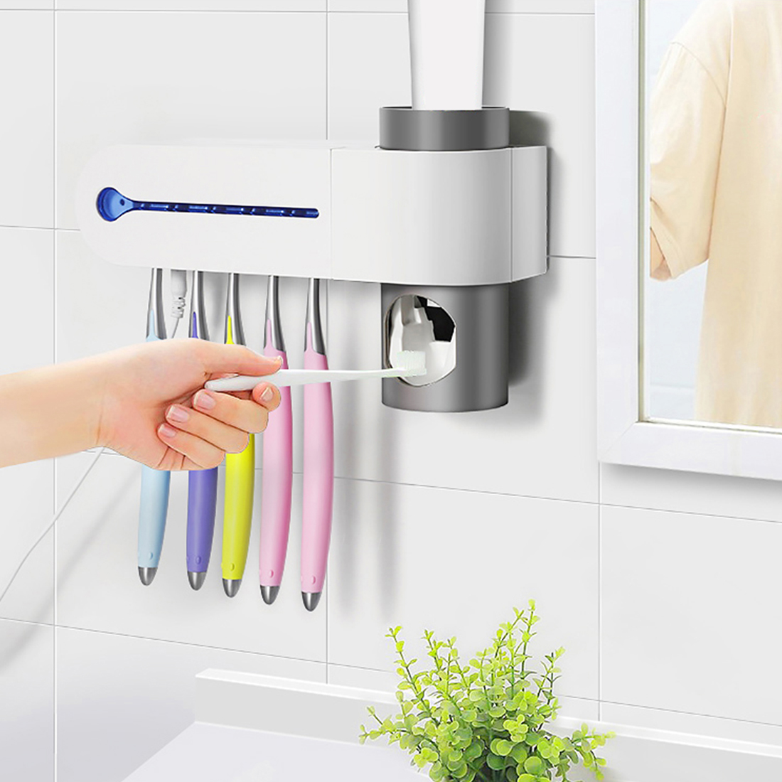 Energia solare Spazzolino Da Denti Sterilizzatore UV Luce UV Spazzolino Da Denti Supporto Automatico di Dentifricio Spremi Dispenser Casa Accessori Per il Bagno
