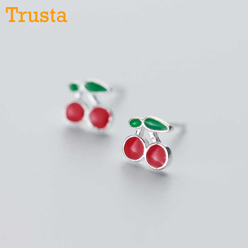 Trustdavis Wanita Fashion 925 Sterling Silver Fashion Kecil Lucu Manis Cherry Anting-Anting Anting-Anting Perempuan Lady Hadiah DS168