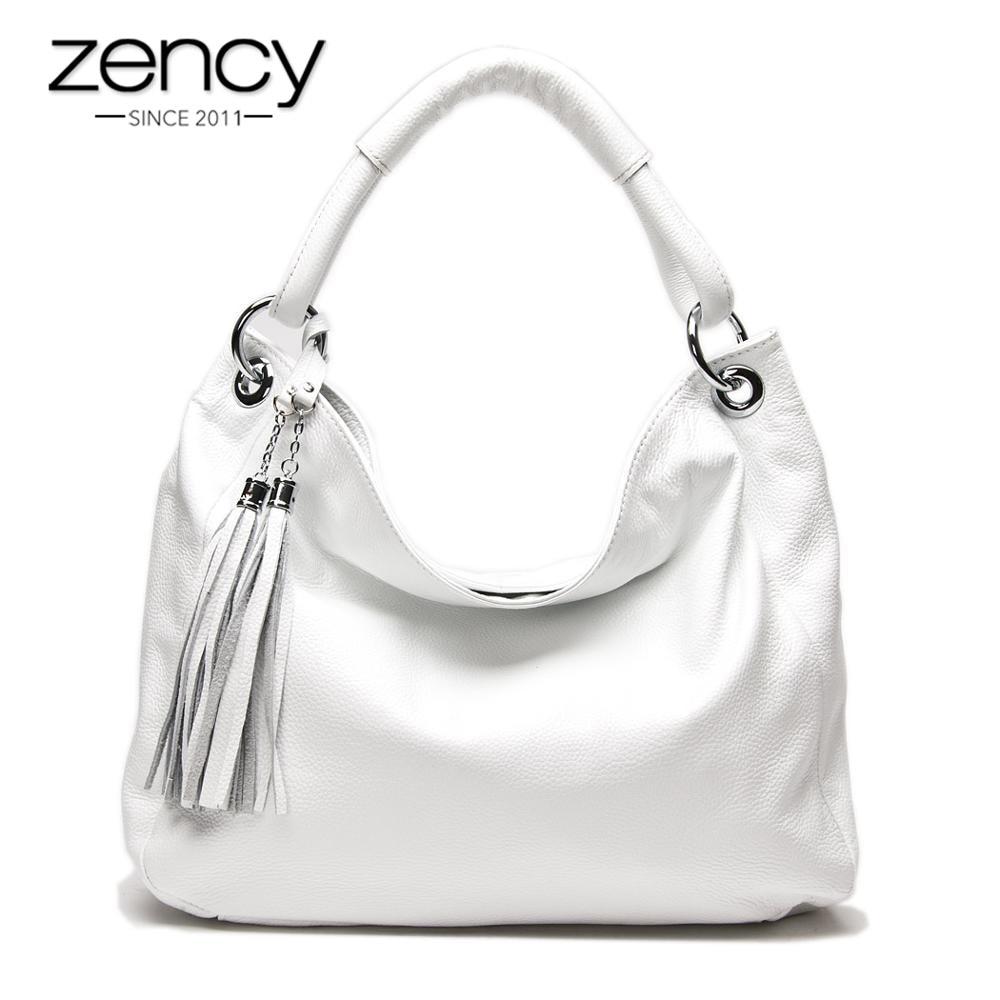 Zency 100% Soft Genuine Leather Tassel Women's Handbag Black White Ladies Shoulder Bags Messenger Satchel Crossbody Purse