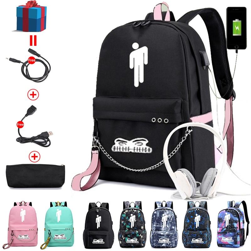 BPZMD Billie Eilish Backpack Women Laptop Travel Bags School Student Backpack Nylon Mochila Teenage Notebook Pusheen Bag