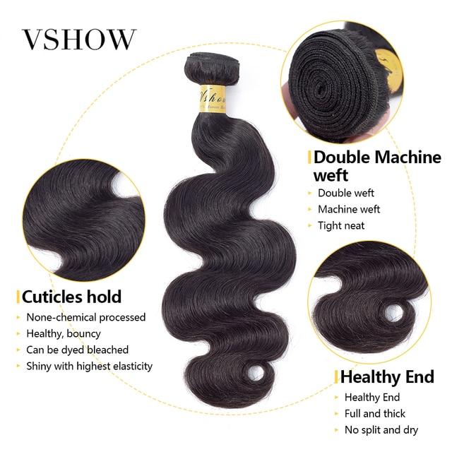 Mèches brésiliennes naturelles Remy-VSHOW | Extensions de cheveux, 100% humains, Body Wave, couleur naturelle, offre en lots de 1 3 4
