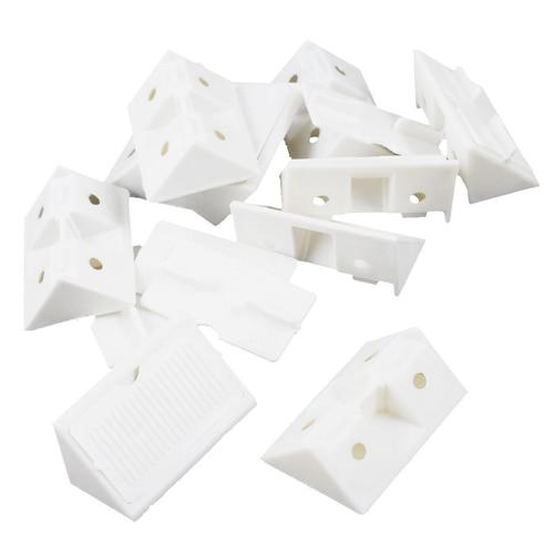 COFA 10pcs Furniture Cabinet Fastener Corner Braces Angle Brackets White
