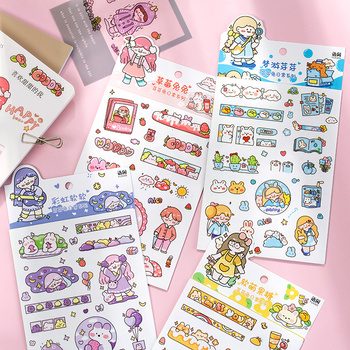 6 pcs/lot Cute Cartoon rabbit girl  Decorative Stationery daily Stickers Scrapbooking DIY Diary Album Stick Lable - discount item  18% OFF Stationery Sticker