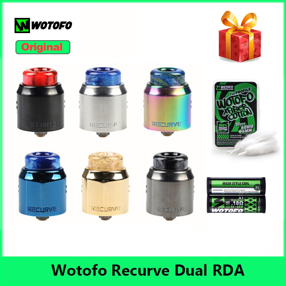 Le plus Récent Wotofo Recurve Double Réservoir RDA Atomiseur + Avec 10 pièces 6mm Profil Coton & 1.8ohm Bobine De Maille E Cigarette Vape Réservoir