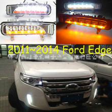 цена на For Ford Edge 2009~2014 Daytime Running Light DRL LED Fog Lamp Cover With Yellow Turning Signal Functions