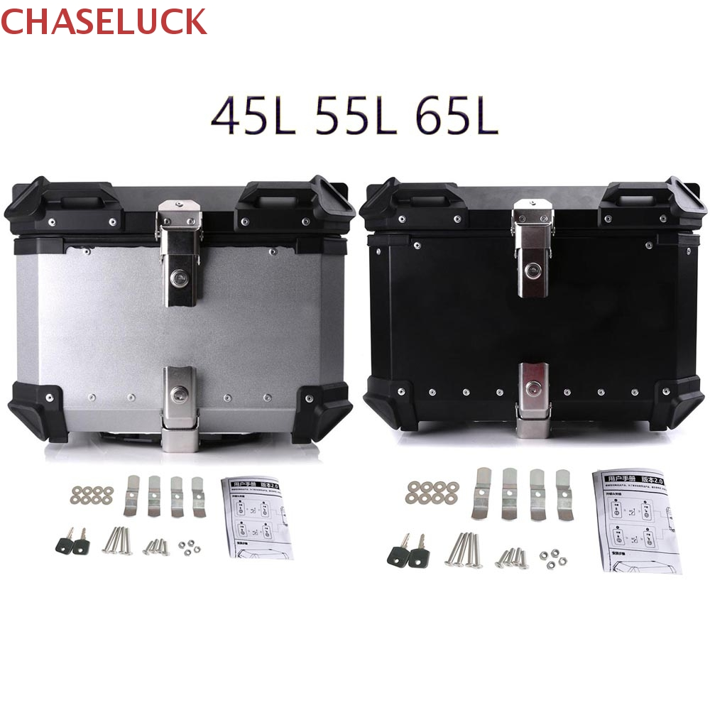 45L-65L Universal Motorcycle Rear Luggage Trunk Storage Moto Top Case Tool Box Waterproof Helmet Key Lock Tail Toolbox Aluminum