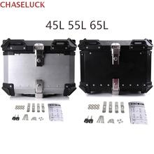 45L-65L uniwersalny tył motocykla bagażnik Moto Top Case skrzynka narzędziowa wodoodporny kask zamek kluczowy ogon przybornik aluminium tanie tanio CN (pochodzenie) About 33*33*33CM (65L 55L 45L) About 57*45*42CM (65L 55L 45L) Aluminum Alloy About 8 6KG 7 9KG 7KG (65L 55L 45L)