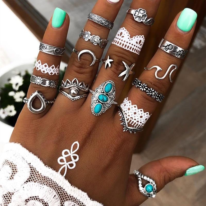 Tocona 15 pièces/ensembles bleu strass lune anneaux pour femmes hommes fleurs goutte d'eau étoile de mer couronne géoemtrique bijoux Anillo 14564