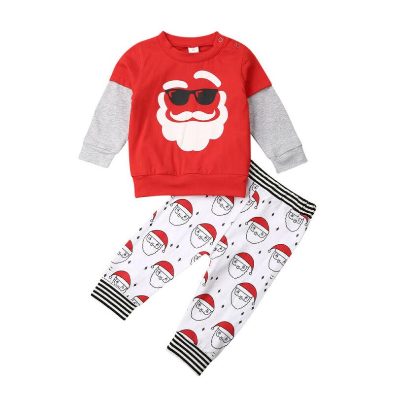 1-6Years Christmas Toddler Kid Baby Boy Clothes Set Cartoon Santa Claus Long Sleeve Tops + Pants Outfits Xmas Costumes