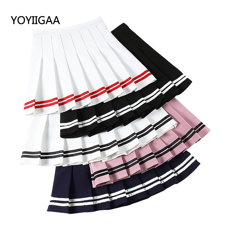 Summer A-Line Women Skirt Striped Stitching Sailor Pleated Skirt Fashion High Waist Skirts Sweet Simple Style Ladies Girl Skirts
