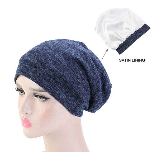 Neue Baumwolle Stretch Muslimischen Turban Beanie Motorhaube Indien Hut Satin Seide Gefüttert Schlaf Kappe Krebs Chemo Kappe Haar Zubehör