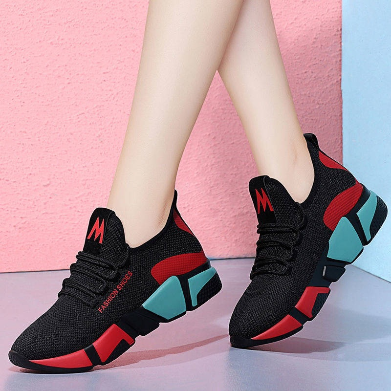 2019 Spring New Women Casual Shoes Fashion Breathable Lightweight Walking Mesh Lace Up Flat Shoes Sneakers Women