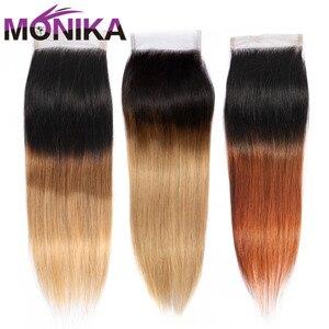 Image 1 - Monika Cierre de pelo liso brasileño, T1B #4 #27 #30, 4x4, cierre de pelo humano no Remy
