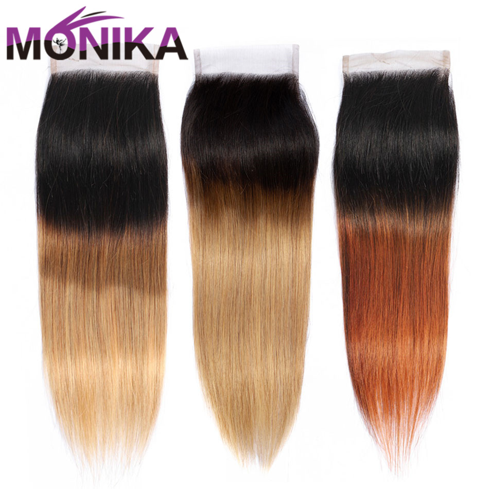 Monika Straight Hair Closure Ombre Colored 4x4 Bleached Knots 4X4 Brazilian Straight Human Hair Non-Remy Lace Closure T1B/4/27