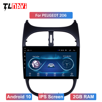 GPS Autoradio IPS Touchscreen Car Radio Audio 9 inch Android 10 for Peugeot 206 2000-2016 image