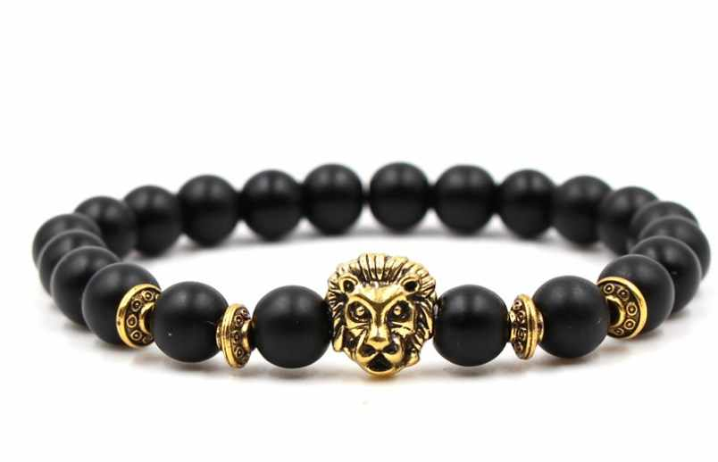 8mm rh434 gold silver ball Frosted agate Onyx nature black stone  Lion head Bracelet Reiki Chakra Fashion