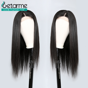 Image 4 - 4x4 Closure Wig Straight Lace Closure Wig Pre Plucked with Baby Hair Non Remy Human Hair Brazilian Hair4x4 Closure Wig For Black