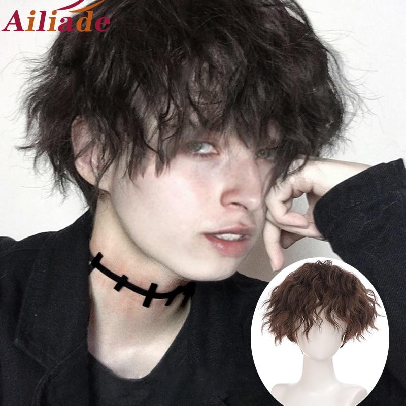 AILIADE короткий кудрявый синтетический Для мужчин парик черные волосы парик с термостойкие полоски средняя часть парик Косплэй парик для Хэл...