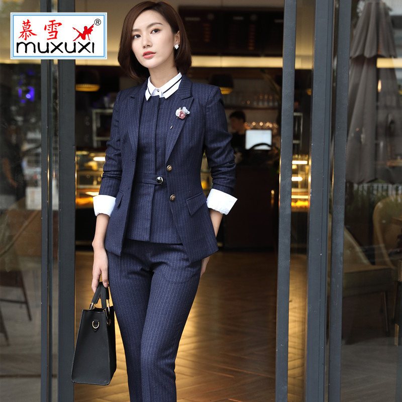 Top Grade Jade Raw Material Suit Women's New Products Stripes Long Sleeve Female Suit Ol Wear Sale Interview Work Clothes