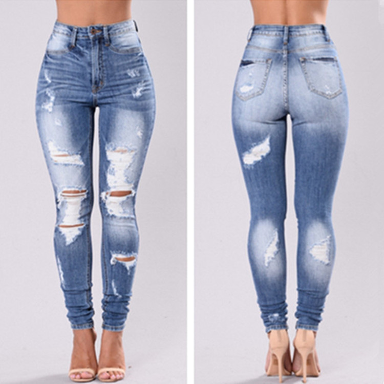 Hot Selling Ultra-stretch Slim Fit Slimming With Holes Skinny Cowboy Pants WOMEN'S Pants JEANS Women