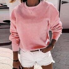 Moda feminina quente inverno sweatshirts casual o-pescoço pura cor mangas compridas pulôver solto feminino sólido blusas #40