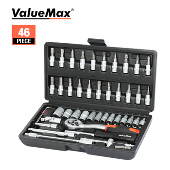 ValueMax Hand Tool Sets Car Repair Tool Kit Set Mechanical Tools Box for Home 1/4-inch Socket Wrench Set Ratchet Screwdriver Kit