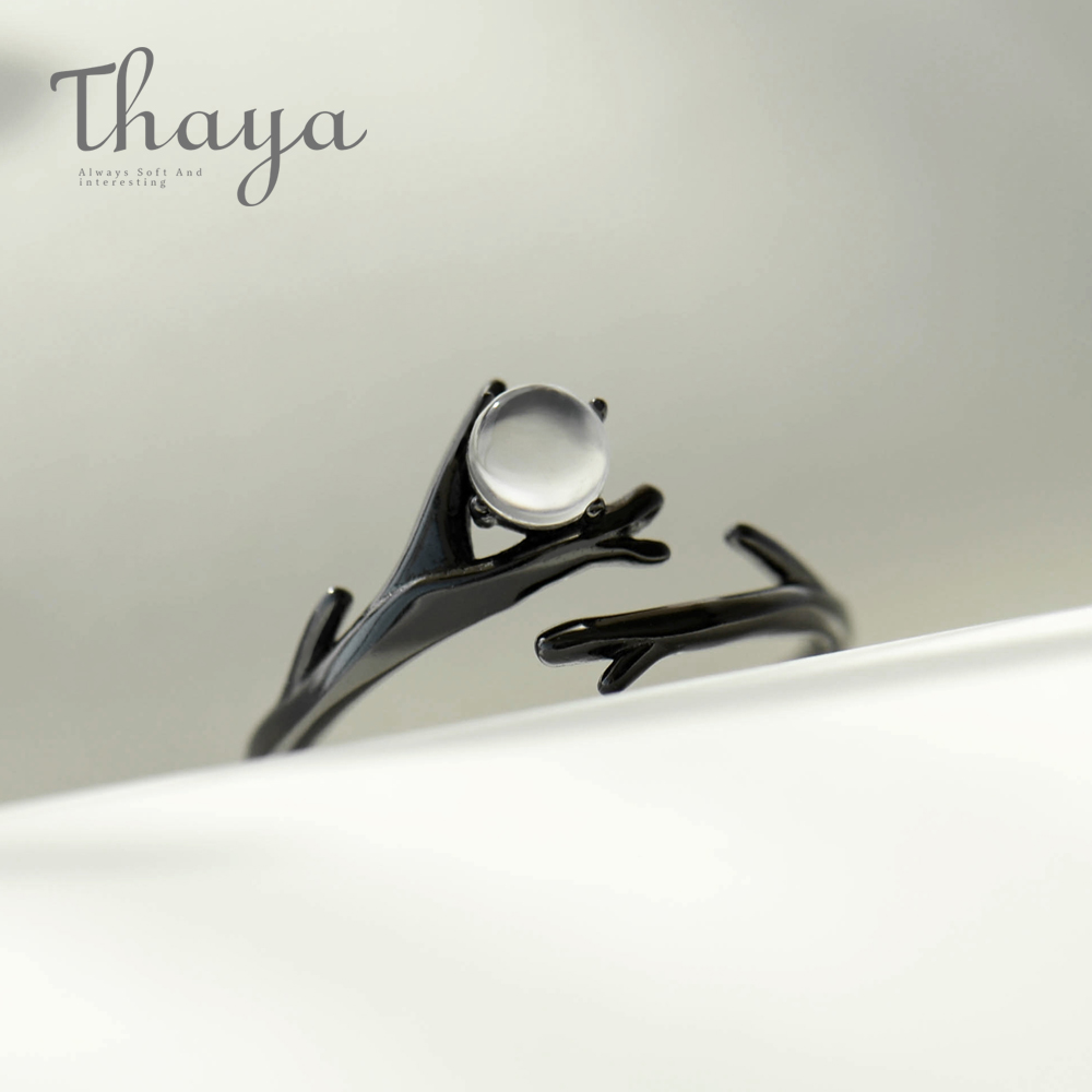 Thaya Original Moonlight Forest Design Finger Ring Moonstone Gemstone S925 Silver Black Branch Ring For Women Elegant Jewelry