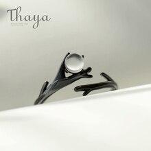 Finger-Ring Jewelry Moonstone Thaya Silver Black S925 Women for Elegant Forest-Design