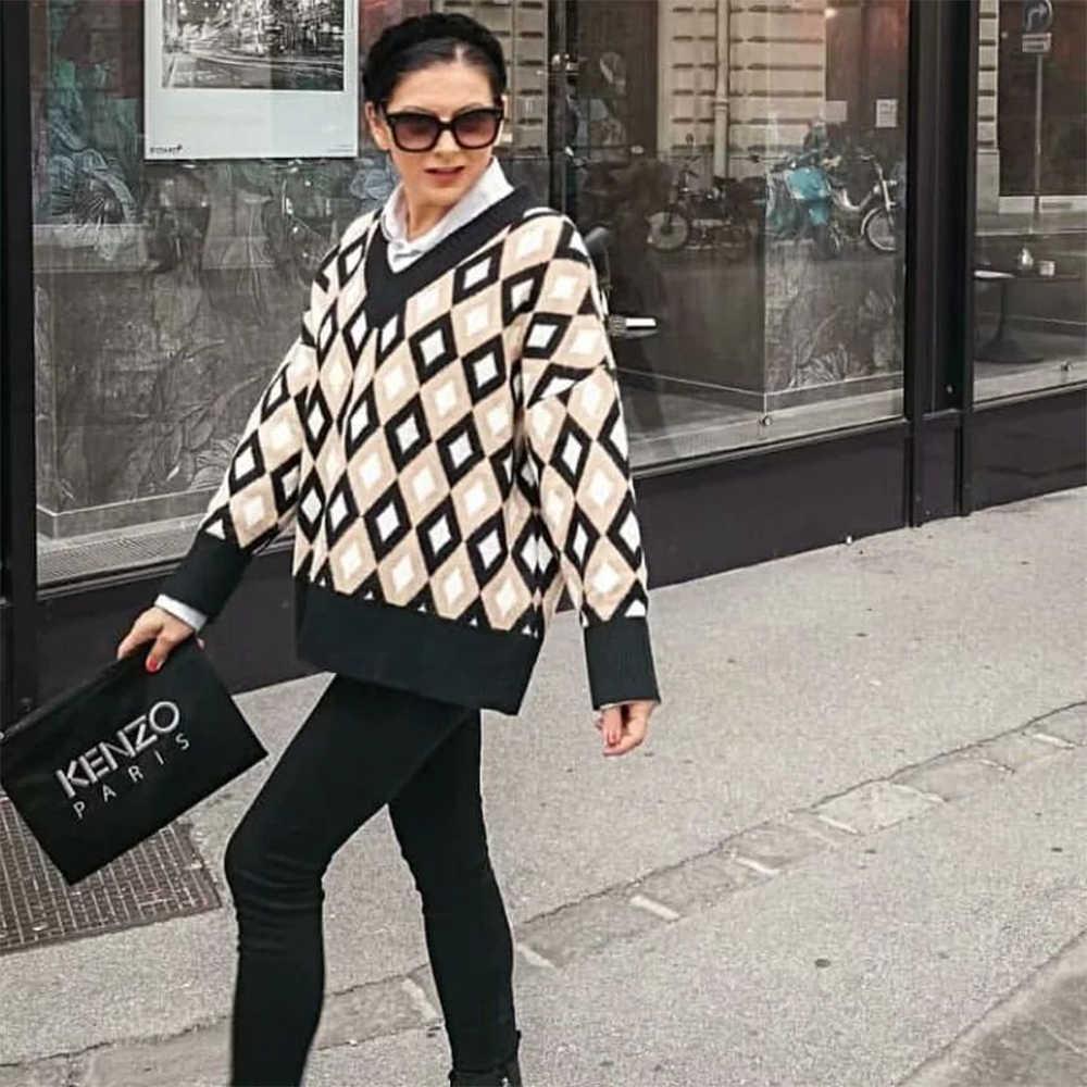 새로운 가을 겨울 니트 탑스 아가일 패턴 느슨한 특대 스웨터 따뜻한 풀오버 캐주얼 당겨 femme chandails