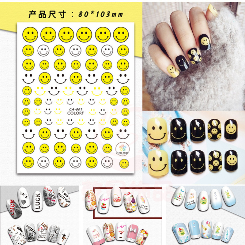 Hot Selling Manicure Cartoon Sticker Japanese-style 3D Gum Teddy Bear Smiley Feather Nail DIY Decoration Flower Stickers