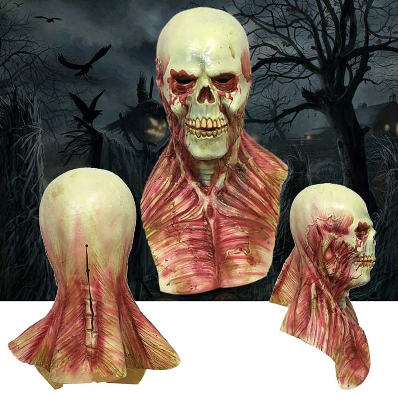 Horror alien Bloody Zombie Mask Melting Face Adult Latex Costume Halloween Scary Prop