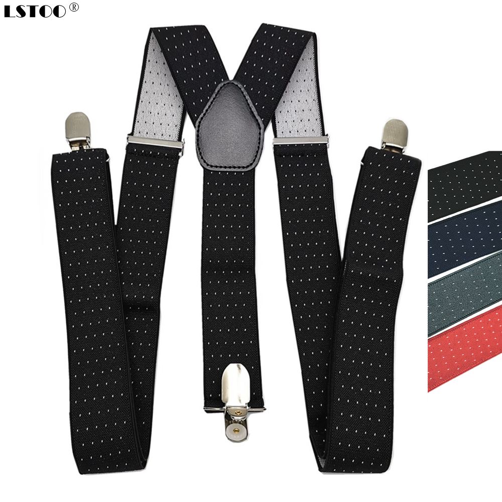 Men Dots Suspenders Large Size 3.5 Width Y-Back Suspender For Wedding Elastic Adjustable  Braces 3 Clips On